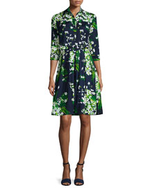 Audrey 3/4-Sleeve Floral-Print Shirtdress, White Blossom