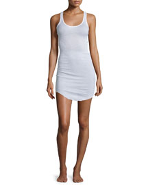 Lena Ribbed Cotton Lingerie Dress, White