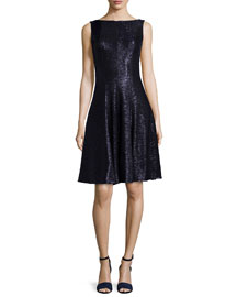 Doha Sleeveless Metallic Fit-&-Flare Dress, Moonlight