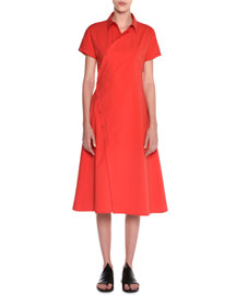 Short-Sleeve Button-Front Shirtdress, Fire