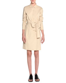 Wrap-Front Belted Shirtdress, Beige
