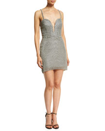 Plunging Sweetheart Swarovski� Pearl Dress, Gray