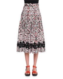 High-Waist Printed Full Skirt, Chalk/Black/Fire