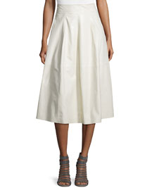 Lacquered Leather Midi Skirt, Twine