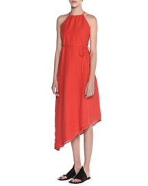 Asymmetric Washed Linen Halter Dress, Fire