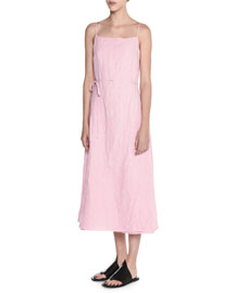 Sleeveless Square-Neck Linen Midi Dress, Pink