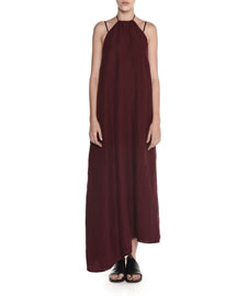 Washed Linen Halter Midi Dress, Maroon