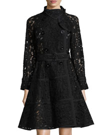 Lace Fit-and-Flare Trench Coat, Black