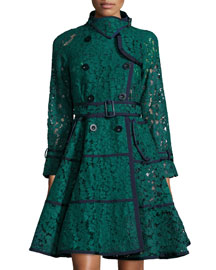 Lace Fit-and-Flare Trench Coat, Green