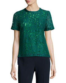 Lace/Georgette Combo Pocket Tee, Green