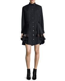 Long-Sleeve Tiered Shirtdress, Black