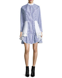 Long-Sleeve Tiered Shirtdress, Blue/White