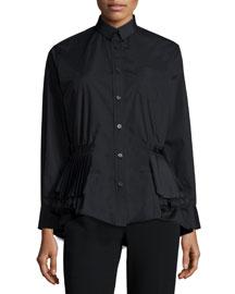 Shirting Long-Sleeve Tiered-Hem Top, Black
