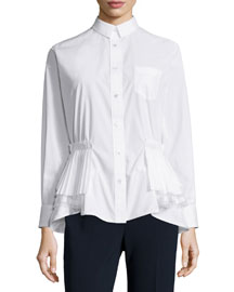 Shirting Long-Sleeve Tiered-Hem Top, White