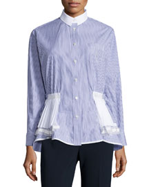 Shirting Long-Sleeve Tiered-Hem Top, Blue/White