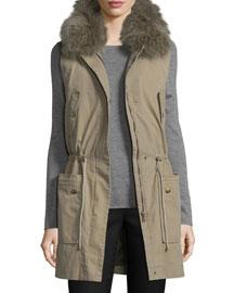 Army Cotton Vest w/Fur Hood, Tank