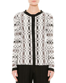 Stereo-Knit Button-Front Cardigan, Black/White/Brown