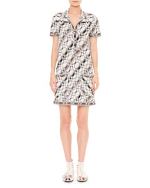 Stereo Knit Short-Sleeve Shirtdress, Black/White/Brown