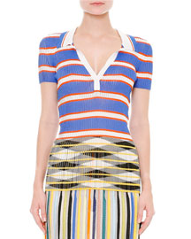 Short-Sleeve Horizontal-Striped Top, Blue/White/Orange