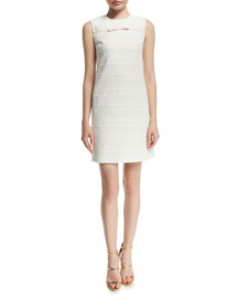 Sleeveless Tweed Bow Sheath Dress, White