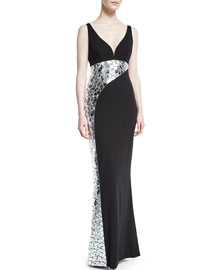 Sleeveless Crackled-Mirror Crepe Gown, Black