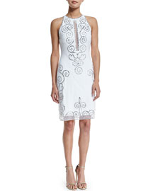 Sleeveless Fishtail-Embroidered Cocktail Dress, White