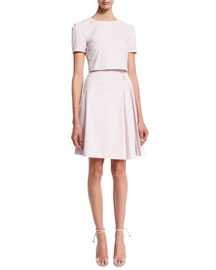 Short-Sleeve Cotton Trompe l'Oeil Dress, Lilac