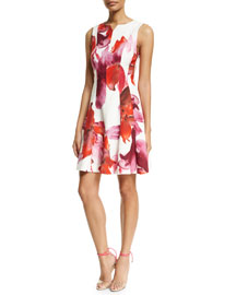 Sleeveless Floral-Print Dress, Red/Pink