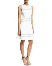 Sleeveless Striped-Lace A-Line Dress, White