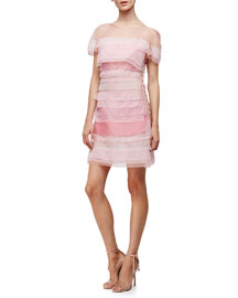 Short-Sleeve Silk Organza Mini Dress, Primrose