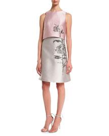 Sleeveless Satin Trompe L'oeil Dress, Gray/Pink