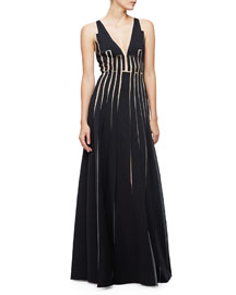 Sleeveless A-Line Gown W/Cutouts, Black