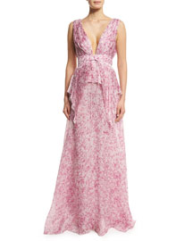 Sleeveless V-Neck Floral-Print Silk Gown, Pink/Multi