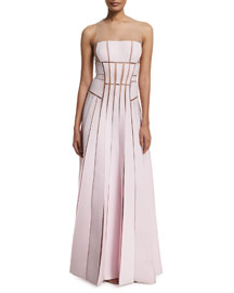 Sleeveless Pieced Techno Jersey Illusion Gown, Lilac