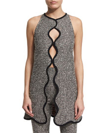 Sleeveless Scalloped Tweed Cutout Tunic, Black/White/Navy