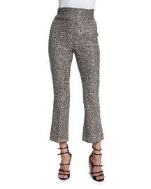 High-Waist Flared Tweed Ankle Pants, Black/White/Navy