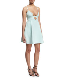 Scalloped V-Neck Cady Cocktail Dress, Mint