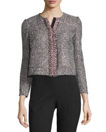 3/4-Sleeve Sparkly Tweed Jacket, Black/White/Navy/Pink