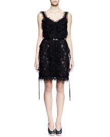 Sleeveless V-Neck Lace Cocktail Dress, Black