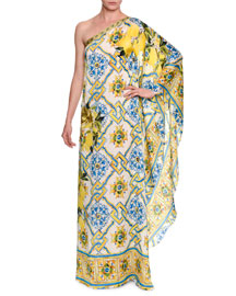 Printed Silk One-Shoulder Caftan Gown, Blue