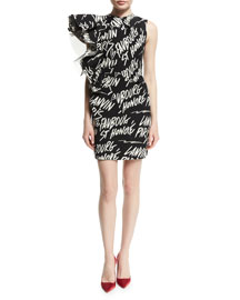 Graffiti Asymmetric Ruffle-Side Dress, Black