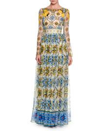 Long-Sleeve Tile-Print Silk Gown, Yellow/Blue