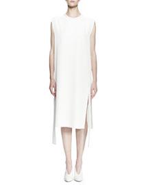 Sleeveless Gabardine Shift Dress, White