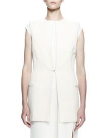 Crepe Vest w/Linen Back, Ecru