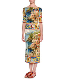 Sorrento 3/4-Sleeve Silk Postcard Dress, Multi