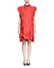 Ruffled Mock-Neck Raw-Edge Dress, Red