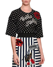 Bella Italia Embellished Dot-Print Blouse, Black/White
