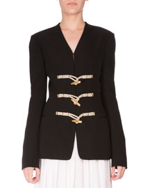 Toggle-Front Wool Jacket, Black