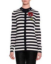 Striped Cardigan w/Embroidered Flower