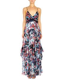 Floral-Print Spaghetti-Strap Maxi Dress